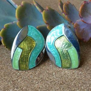 80's 90's VTG Enamel Cloisonné Earrings